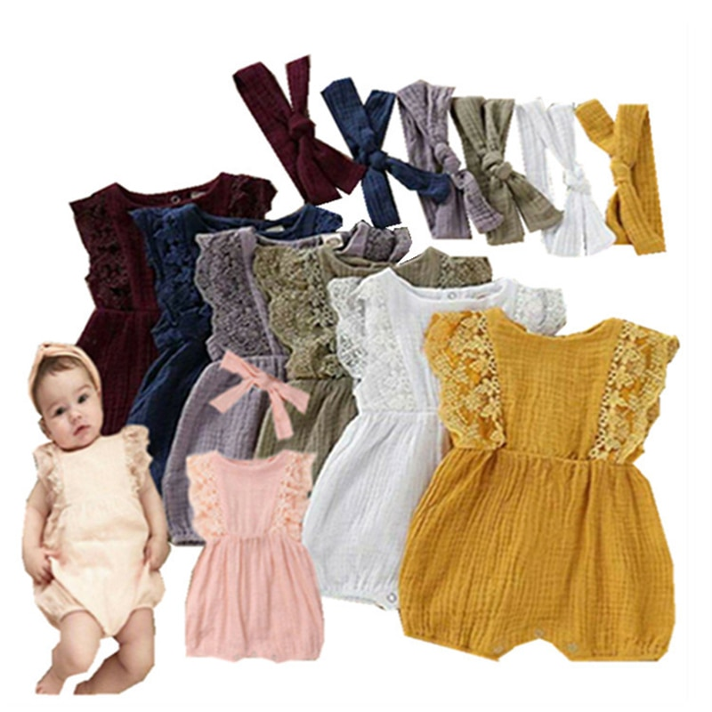 0-24M Summer Newborn Jumpsuit 2021 European and American Baby Clothes Baby Girls Sleeveless Lace Romper With Headband