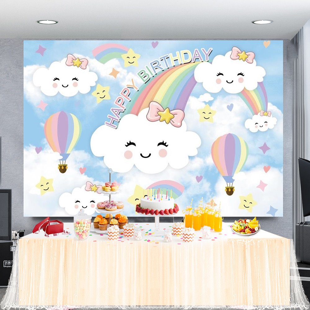 AliExpress - Rainbow Lovely Cloud Star Happy Birthday Party Customized Poster Portrait Photography Backdrop Photo Background For Photo Studio