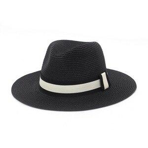 New Summer Unisex Ribbon Belt Sun Hats Casual Vacation Panama Straw Hat Women Beach Jazz Men Foldable Chapeau