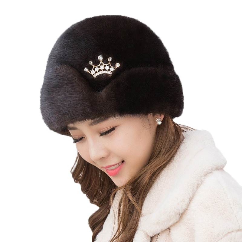 Real Mink Fur Women's Fur Hats Russia Winter Warm Luxury Natural Mink Peaked Hats Fashionable Caps Without Eaves New Arrival