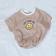 Baby Clothes Overalls Baby Bodysuit Short Sleeves Striped Baby Girls Clothes Boys Clothing Cotton Ca
