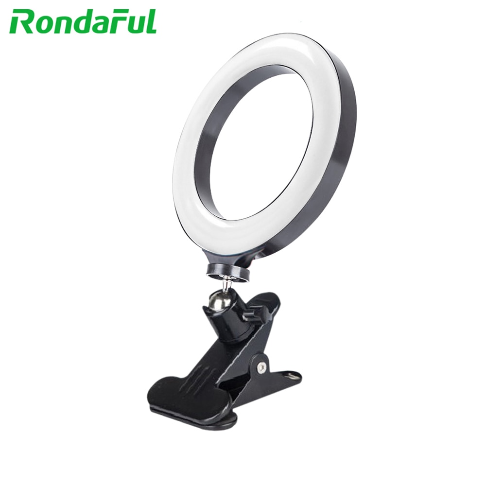 20cm llenar anillo luz para teléfono móvil ordenador ajustable de brillo luces para Selfie transmisión en directo de luz de relleno de belleza
