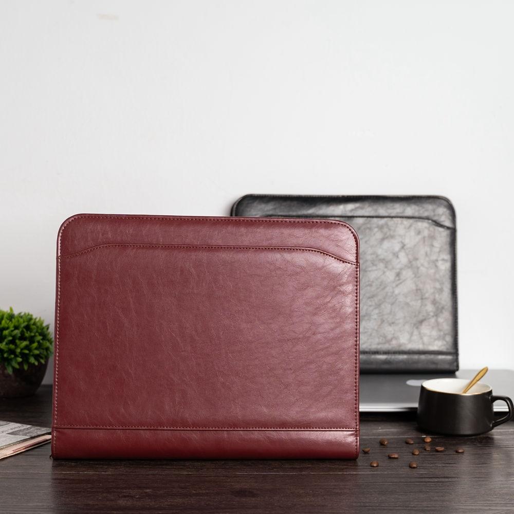 A4 pasta de arquivo de documento pasta pasta padfolio pasta carteira com calculadora zíper couro do plutônio gerente pasta de escritório de negócios