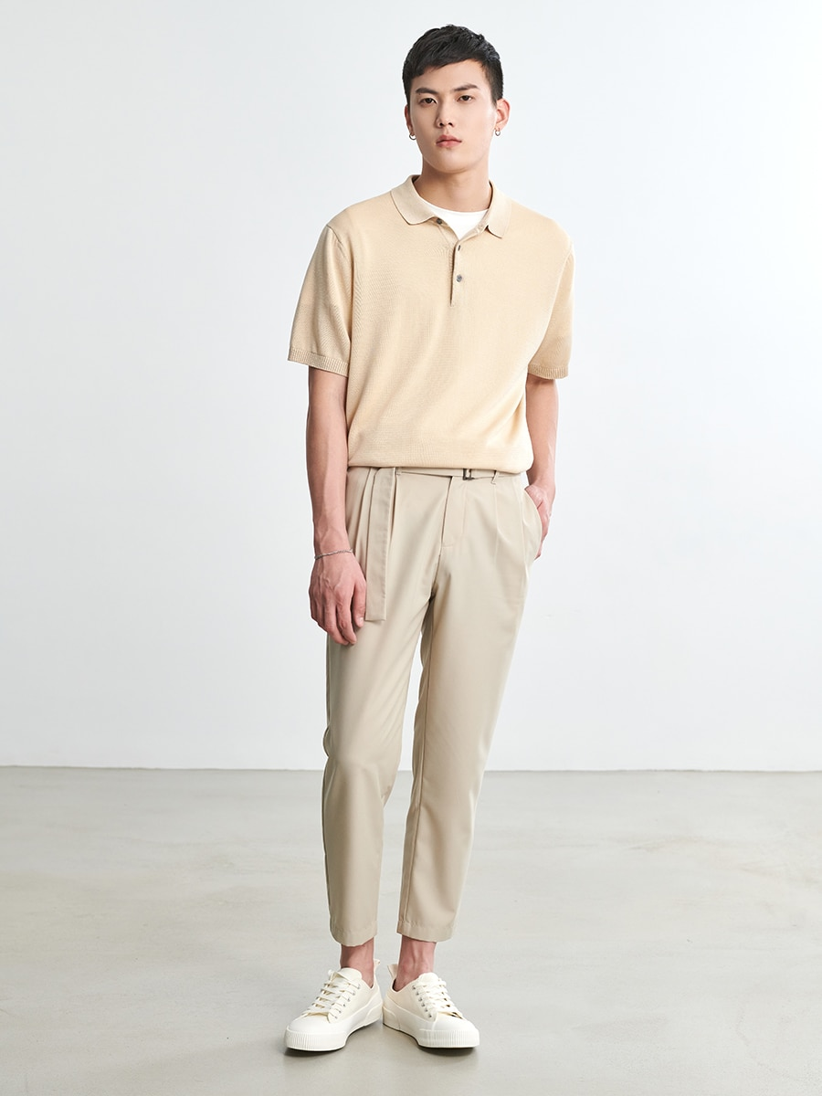 Summer Thin High-End Mulberry Silk Blend Men's Short-Sleeved Loose-Fitting Japanese Tide Card Lapel POLO T-shirt