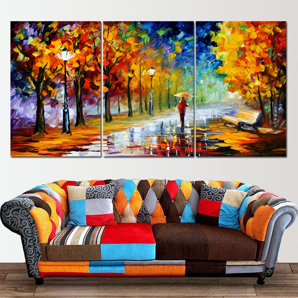 Abstract 3 Panels Wall Art Oil Painting On Canvas Posters And Prints Raining Landscape Park Picture For Nordic Home Decoration