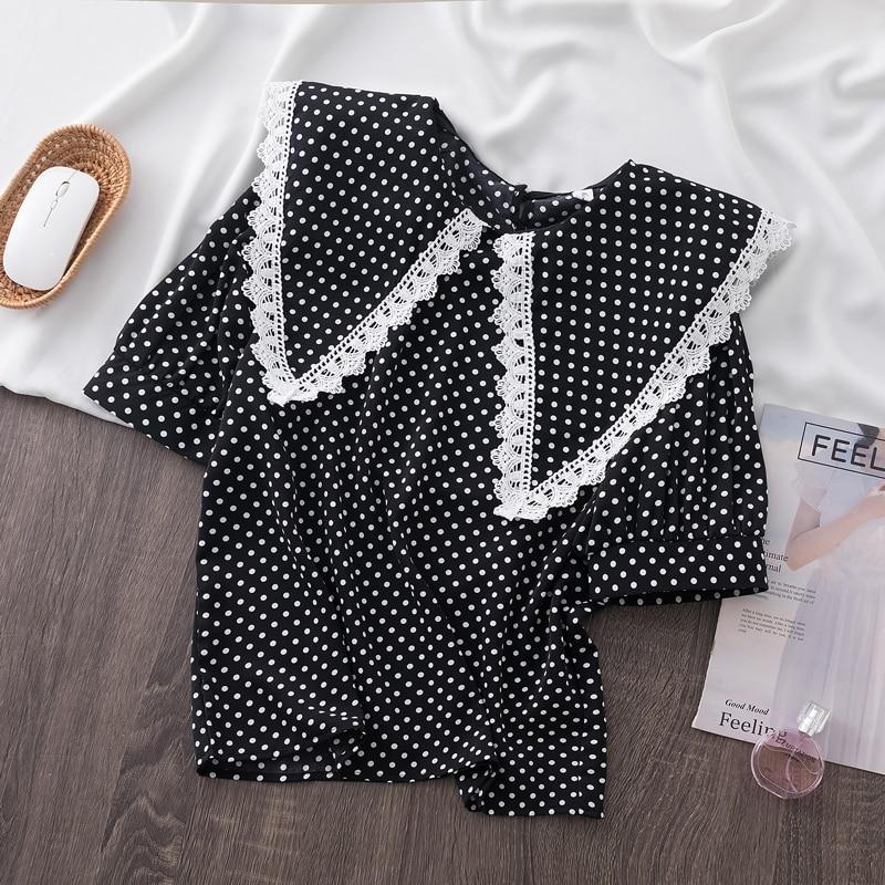 Womens Blouse Plus Size 4xl Polka Dot Tops Puff Sleeve Shirts 2021 Summer Fashion Women Blouses Top Female Elegant