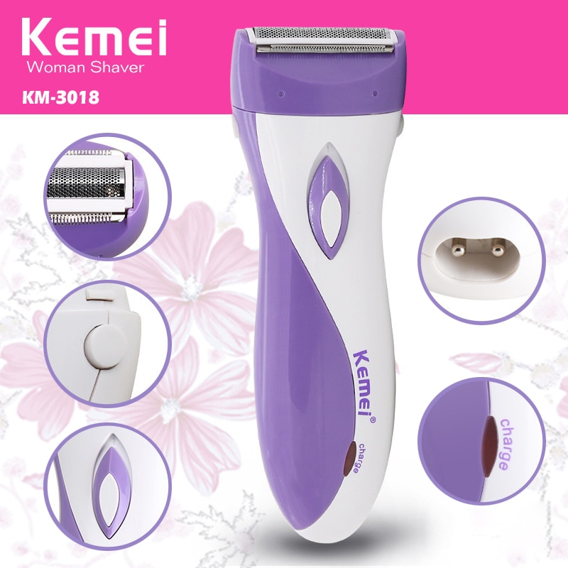 Kemei Hair Remover Lady Shaver Underarm Hair Trimmer Rechargeable Waterproof Bikini Armpit Razor for