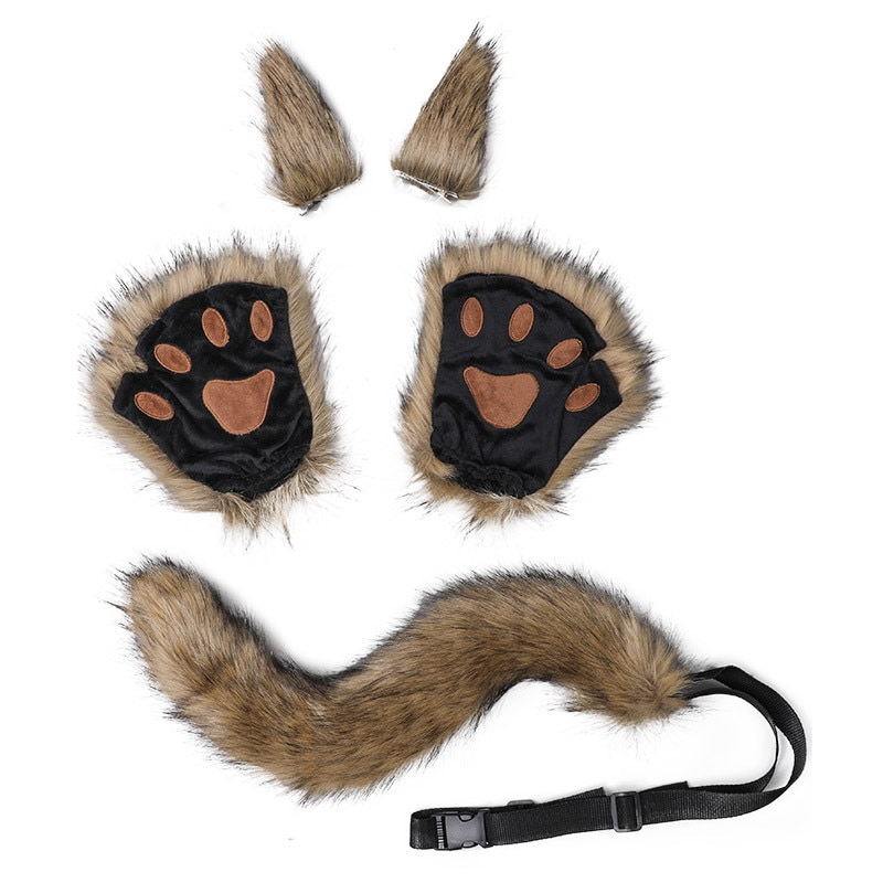 5pcs Animal Costume Accessories Set Faux Fur Kitten Wolf Ears Hair Clips Long Tail Plush Gloves Halloween Cosplay Props