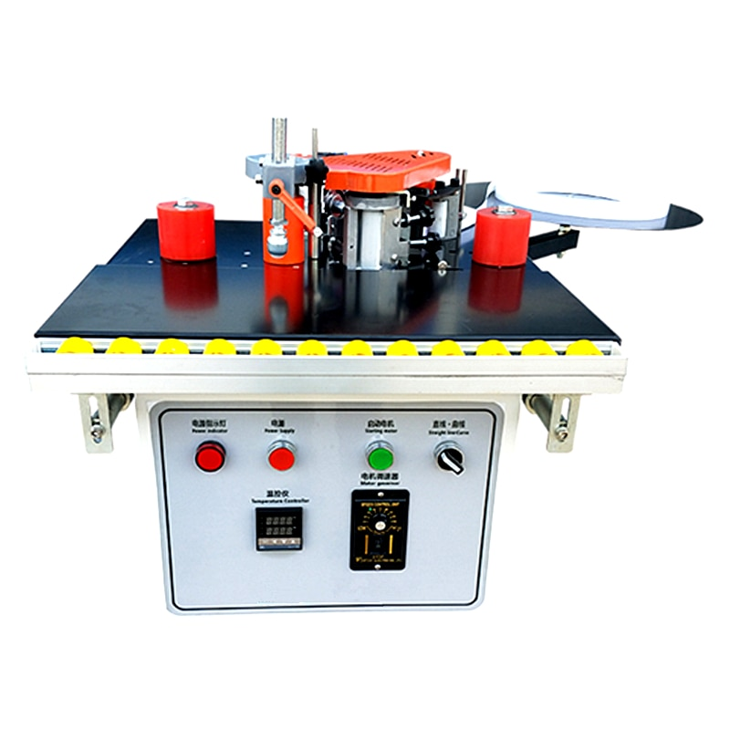 1200W Woodworking Edge Banding Machine Wood PVC Double Side Gluing Portable Edge Bander with Tray Cut Adjustable Speed 1000ml