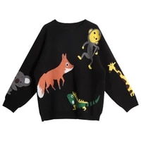 cartoon embroidery sweaters womens jumper pullover kawaii long sleeve o neck loose knitted sweater winter 2020 female tops