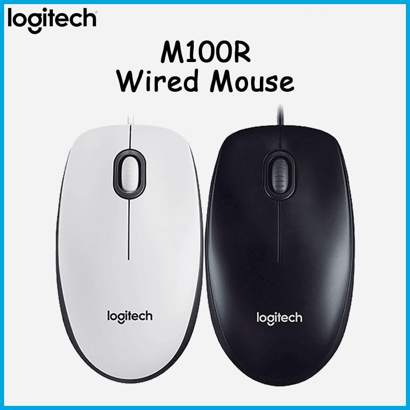 Ratón óptico con cable Logitech M100r USB de 1000DPI, ratón portátil con cable, ordenador portátil, ratón de oficina en casa, versión mejorada M100, Mini ratón