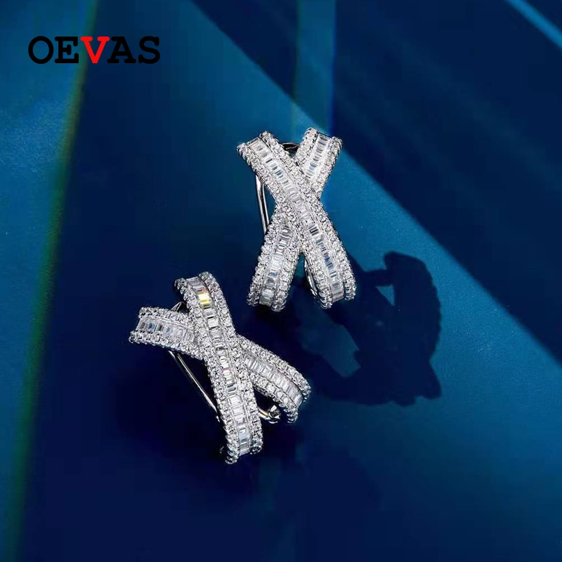 Get OEVAS 100% 925 Sterling Silver Sparkling High Carbon Dianmond Bridal Stud Earrings Wedding Engagement Party Fine Jewelry Gifts