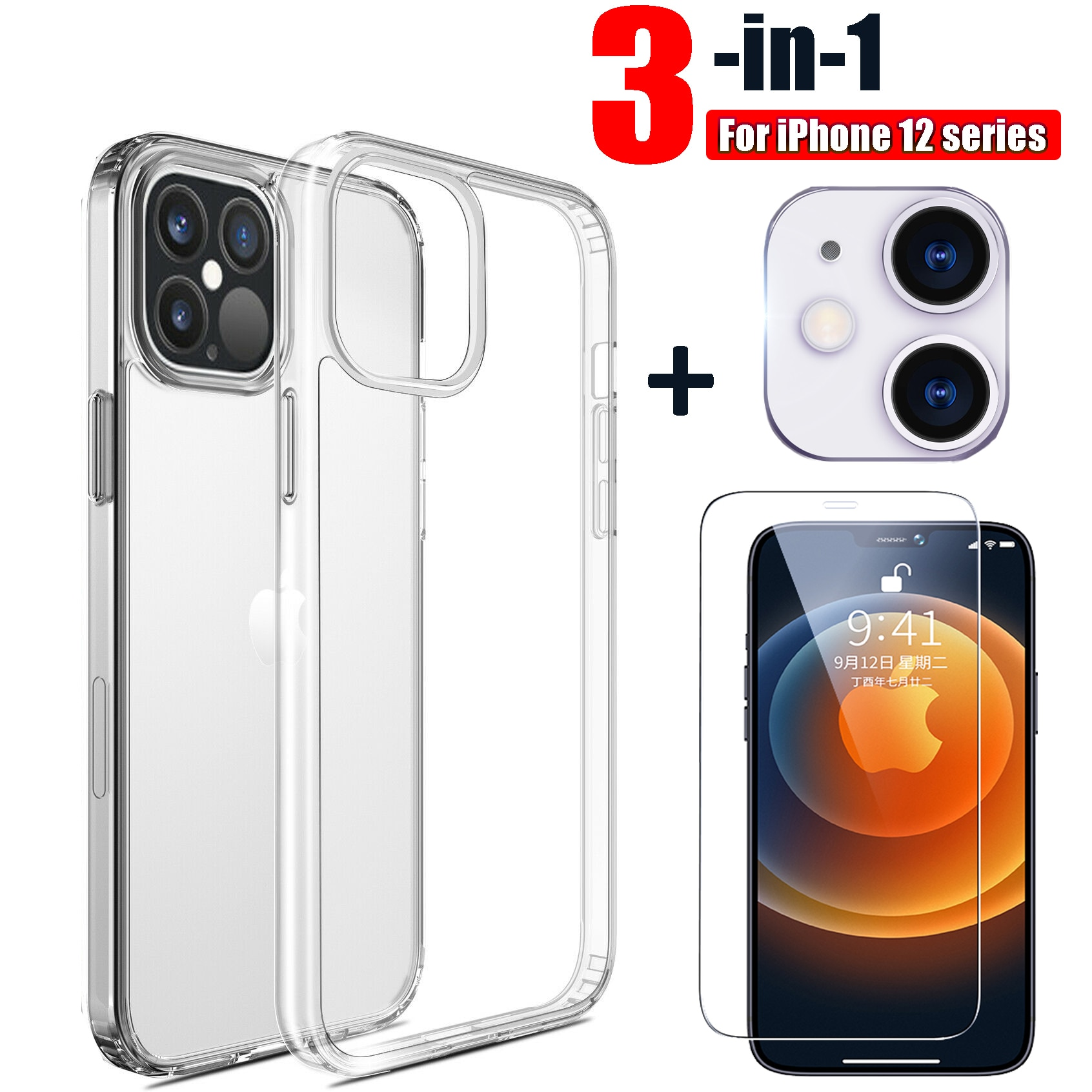 for iPhone 12 Mini 12Pro Max Clear TPU Case & Tempered Glass Screen Protector & Camera Lens Protecto