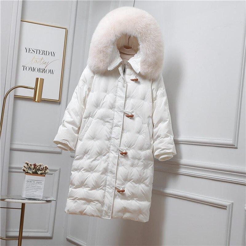 جديد لعام 2020 معطف سميك من فرو الثعلب وياقة طويلة للشتاء أبيض بقلنسوة وسترة بيضاء مبطنة للأسفل سترة للثلج مضادة للرياح