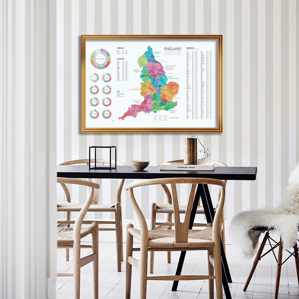 90*60cm The England Map with Detailed Administrative Subdivisions Poster Canvas Painting Living Room Home Decor School Supplies