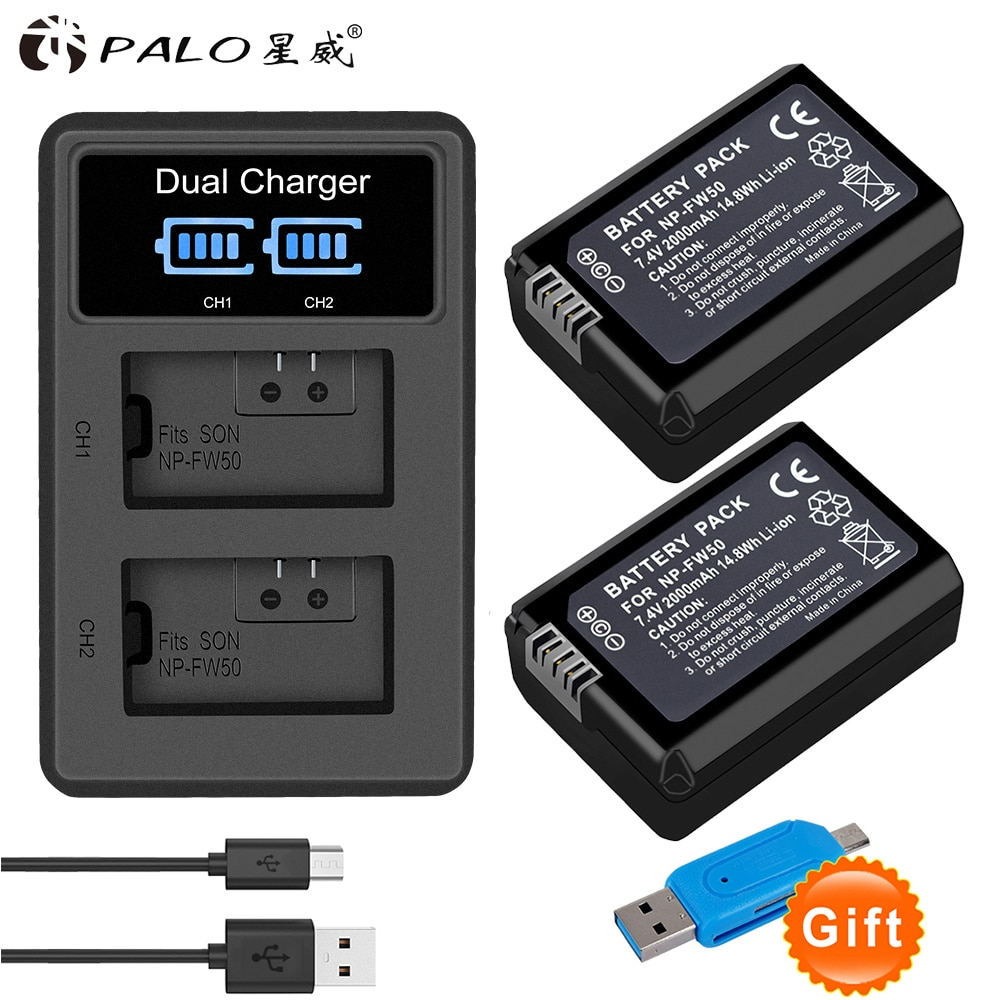 PALO 2 uds 2000mAh NP-FW50 FW50 batería para cámara digital AKKU + LED cargador Dual para Sony a6500/6300 A7SM2 RX10 II NEX-3/3N/5C/5 T/CD