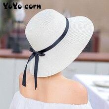 YOYOCORN  Straw hat female summer small fresh hat sun hat floating belt sunscreen folding large coastal sun hat beach cap