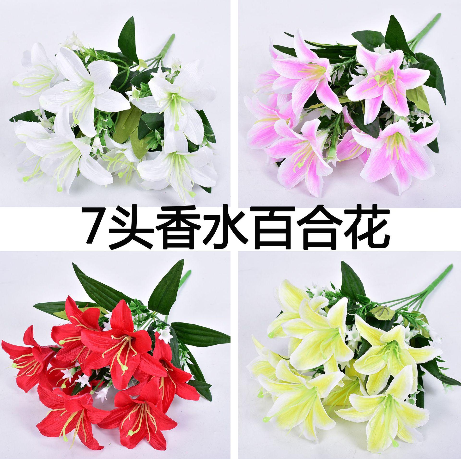 Modelo lirio ramo de flores secas mesa de salón muebles jarrón de flores artificiales arreglo de flores decorativas para interiores