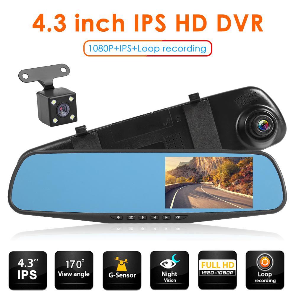 Q103B retrovisor óptico azul espejo Monitor DVR para auto Cámara lente doble 4,3 pulgadas IPS 1080p sin fisuras grabación Dash-Recorde