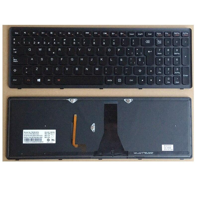 Novo para lenovo g500s com backlit preto quadro espanhol teclado sp