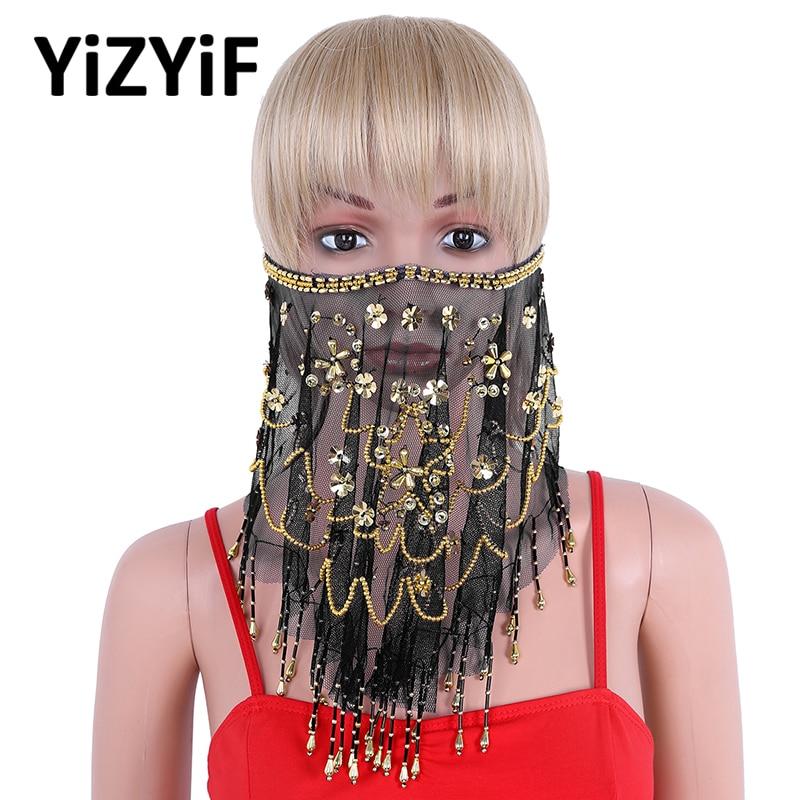 Женская вуаль из бисера для танца живота, прозрачная сетчатая вуаль для танца живота, этническое лицо, вуаль, бисер, кисточки, аксессуар для костюма на Хэллоуин