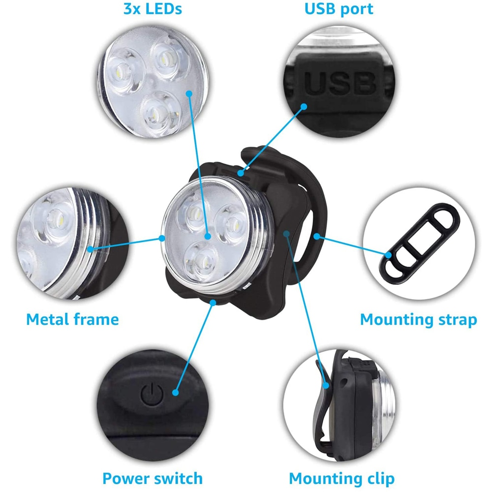 USB Rechargeable Bicycle LED Lights Bike Front Rear Riding Outdoor Lamp Waterproof Ultralight Flashlight Baby Car Caution Light enlarge