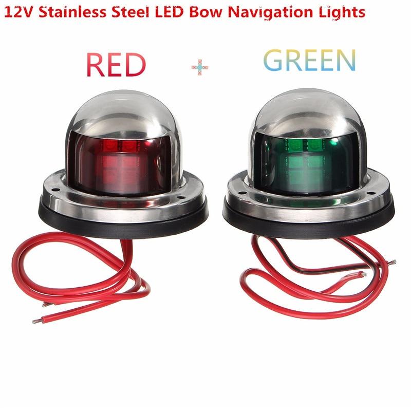 2x Boat Light Stainless Steel 12V LED Bow Navigation Light Red Green Sailing Signal Light For Marine Boat Yacht Warning Light