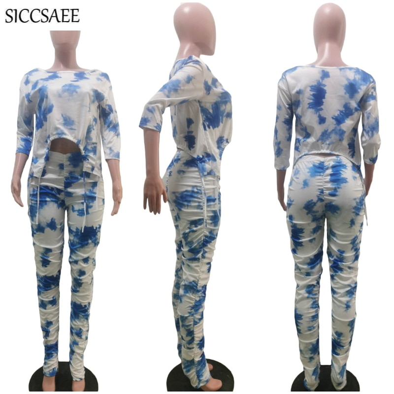 Tie Dye Printed Two Piece Set Cropped Crop Top And Pants Sweat Suit Sexy Casual Outfits For Women Plus Size Clothing Gathered