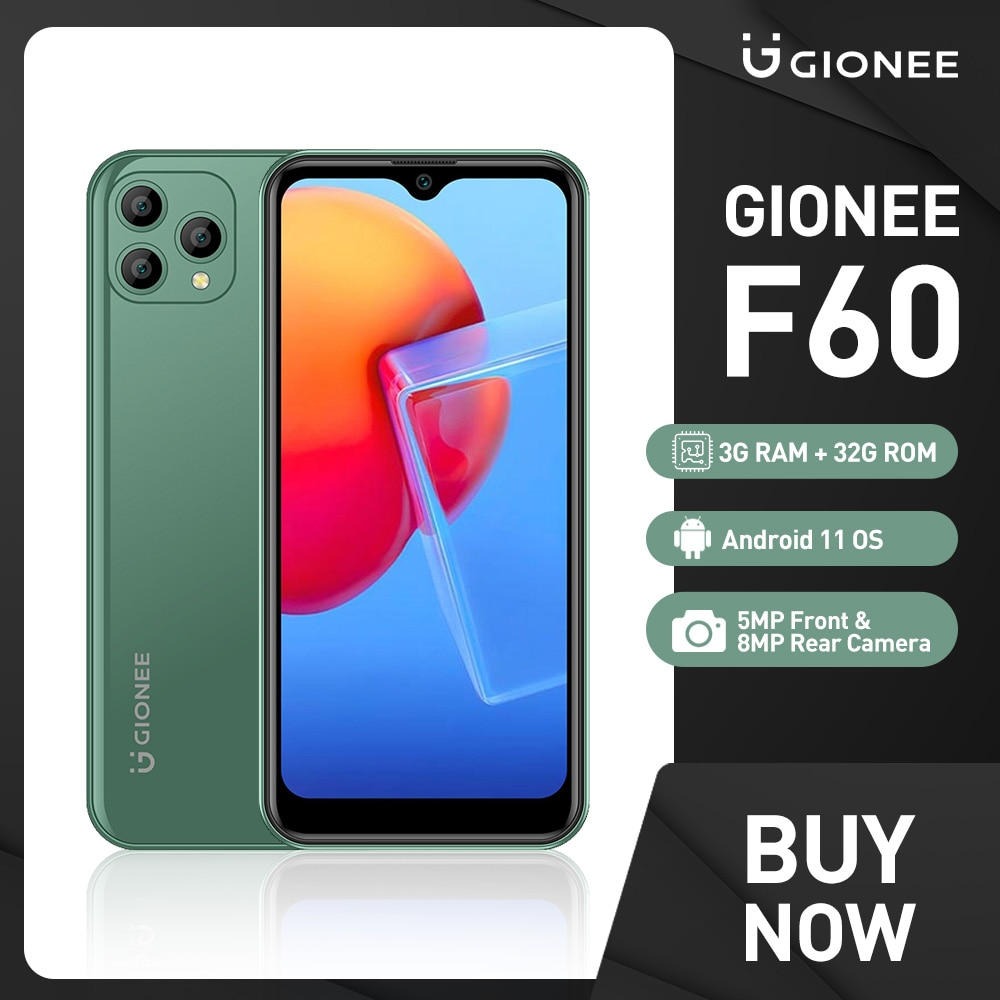 GIONEE F60 Android 11 4G Mobile Phone 3G 32G 5+8MP Camera 3400mAh Quad Core Smartphones 6.088