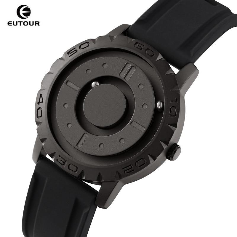 Relógio para Homem Relógio de Quartzo Peculiar dos Homens Relógios de Toque Cego para Obter Eutour Criativo Ponteiro Bola Magnética Masculino Tempo Presente E030
