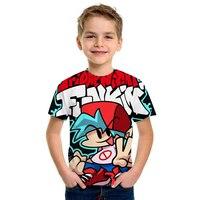Футболка Funkin для мальчиков и девочек, смешная мультяшная игра синего певица, детская одежда, топ, аниме одежда