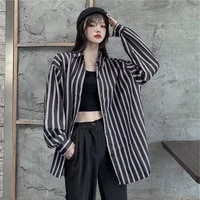 2021 spring new striped print shirt women blouses bf style loose turn down collar long sleeve button shirts elegant lady blouse