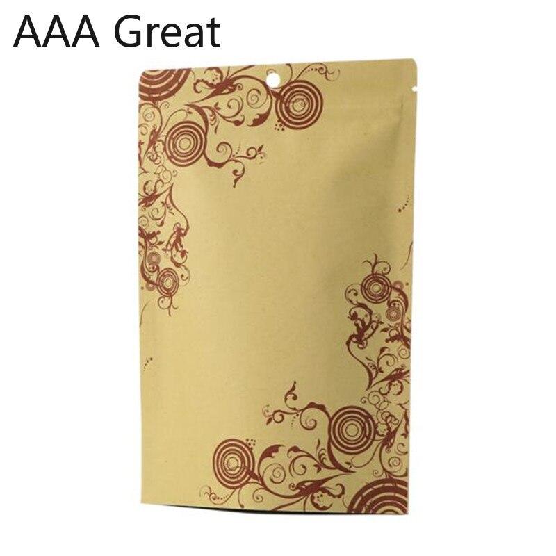 50 unids/lote al por menor cremallera bolsa de pie para tuercas de embalaje de té de cierre resellable de bloqueo de papel Kraft paquete bolsas flores espesar bolsa