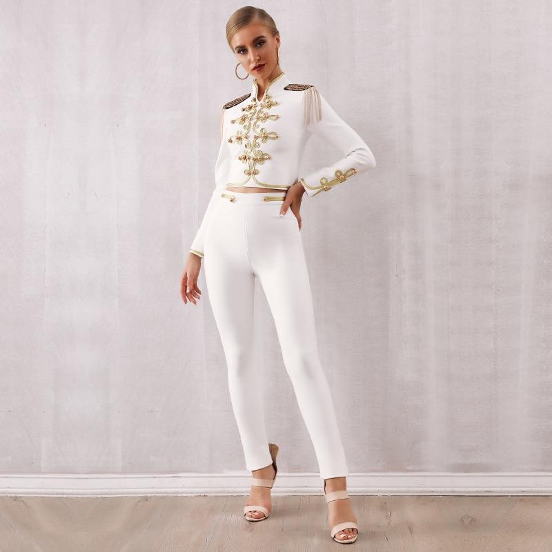 Auttumn Winter Two Pieces Lady Bandage Tassel Suit Top&Pants White Fringed Shirt Long Pants Celebrity Evening Running Party Set