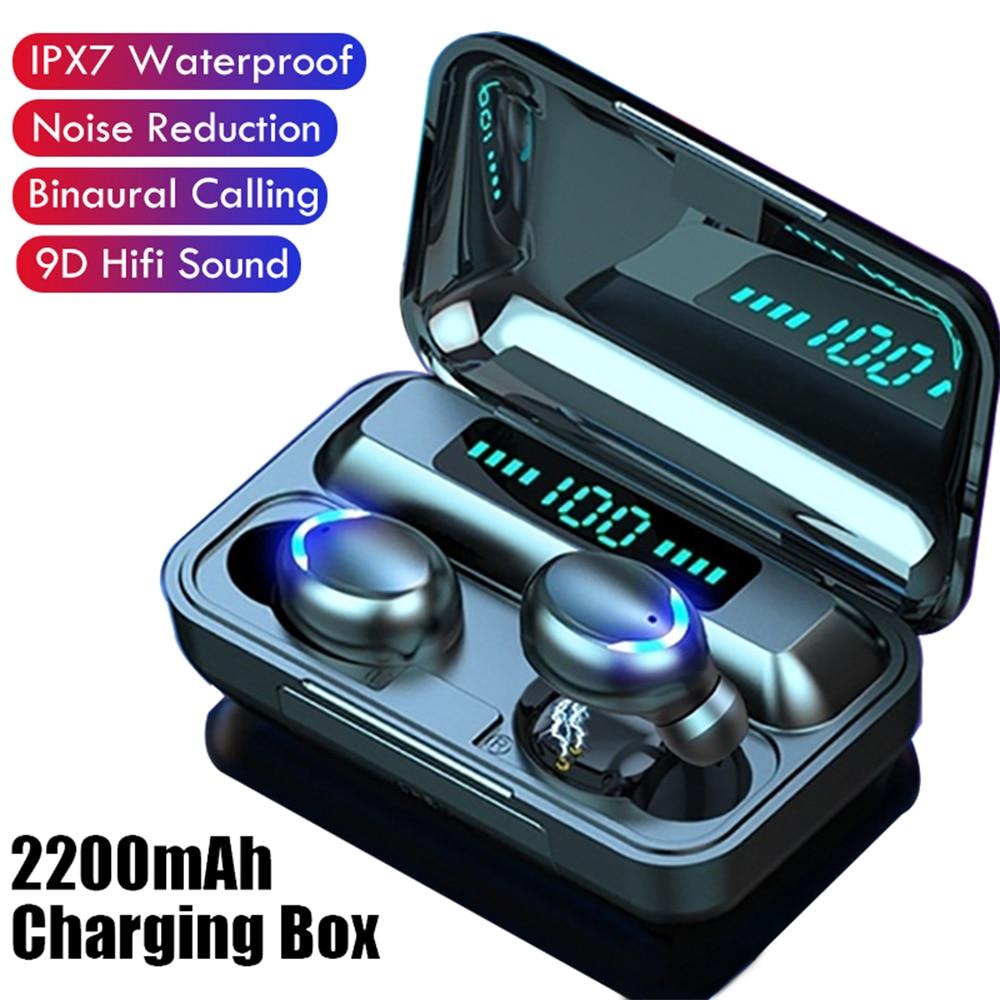 TWS F9 Bluetooth Earphone V5.0 Stereo Wireless Headset Sport Waterproof Earphones Mini Touch Control