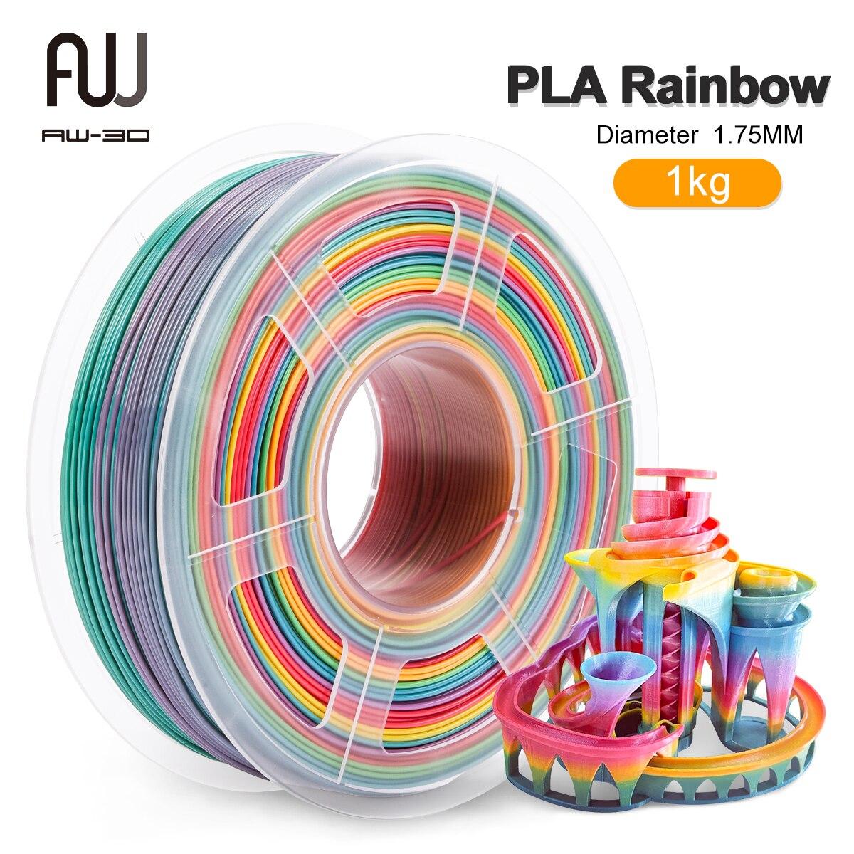 AW 3D PLA-خيوط قوس قزح للطابعة ثلاثية الأبعاد ، 1 كجم ، 1.75 مللي متر FDM ، 2.2 رطلاً ، أبعاد دقة البكرة/-0.02 تعبئة مفرغة