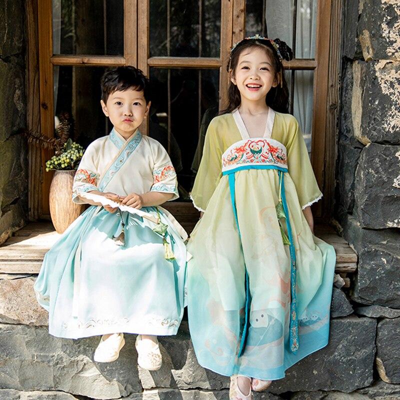 Hanfu/Летняя одежда для мальчиков и девочек; Новинка 2021 года; Одежда для сестры и брата в древнем стиле; Одежда в восточном стиле; Одежда в китай...