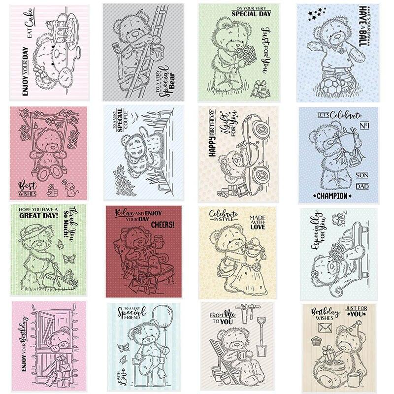 Frases De Celebración osos de peluche sello 3x4 pulgadas sellos claros para DIY tarjetas de papel para álbum de recortes haciendo suministros decorativos de artesanía