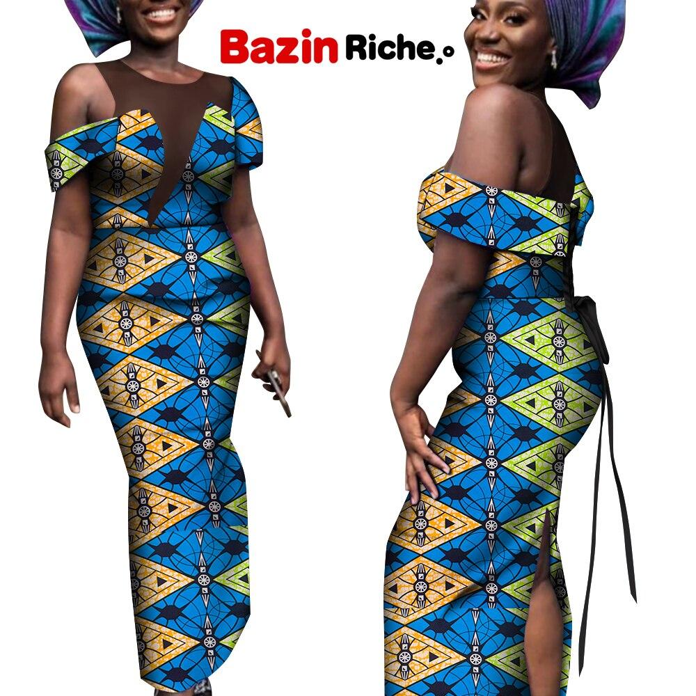 Новая африканская одежда для женщин с открытыми плечами без рукавов элегантное модное женское платье с юбкой-годе женское платье с индивид...