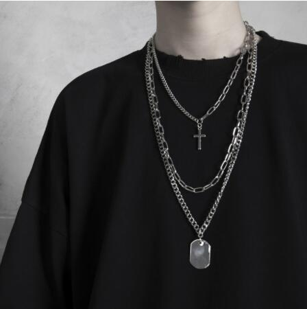 Hip hop Personality Cross Square Metal Multilayer Long Chain Cool Simple Pendants Necklace For Women men Jewelry Gifts e girl