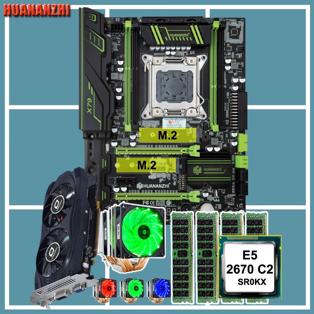 HUANANZHI X79 Motherboard Combo 2 M.2 Slot Intel Xeon CPU E5 2670 6 Tubes CPU Cooler 32G RAM 4*8G REG ECC Video Card GTX750TI 2G