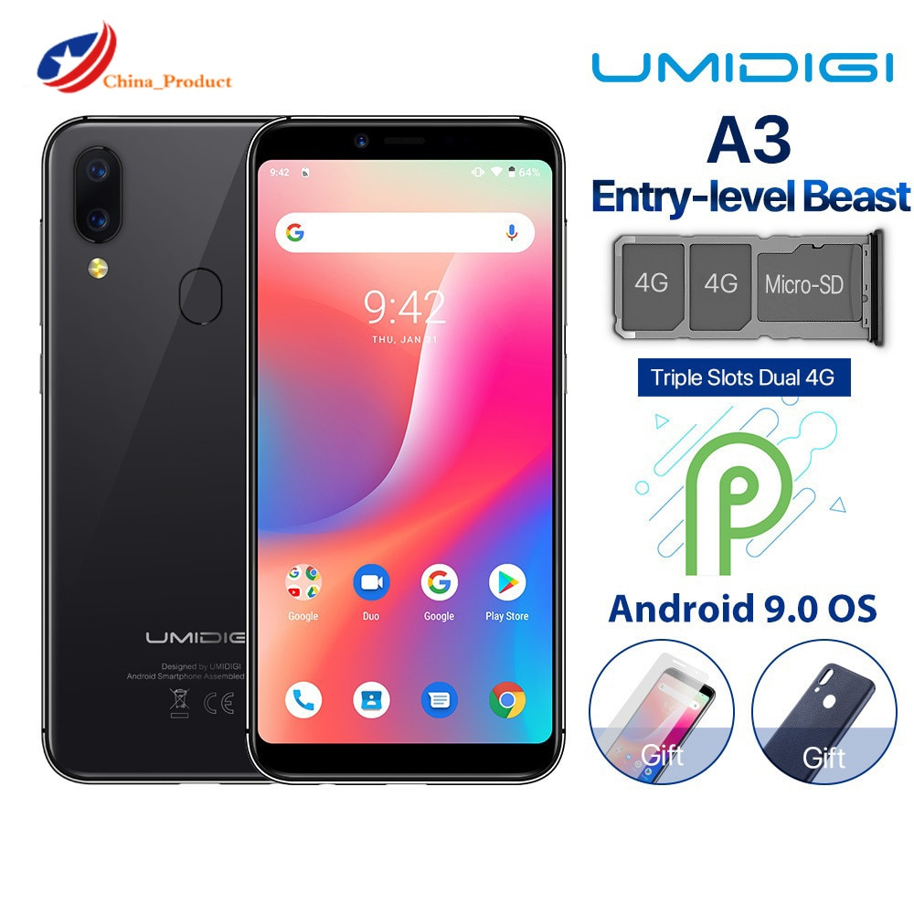 Перейти на Алиэкспресс и купить Оригинальный UMIDIGI A3 смартфон Dual Core 4 аппарат не привязан к оператору сотовой связи Android 8,1 2GB Оперативная память 16 Гб Встроенная память MTK6739 5,5 '...
