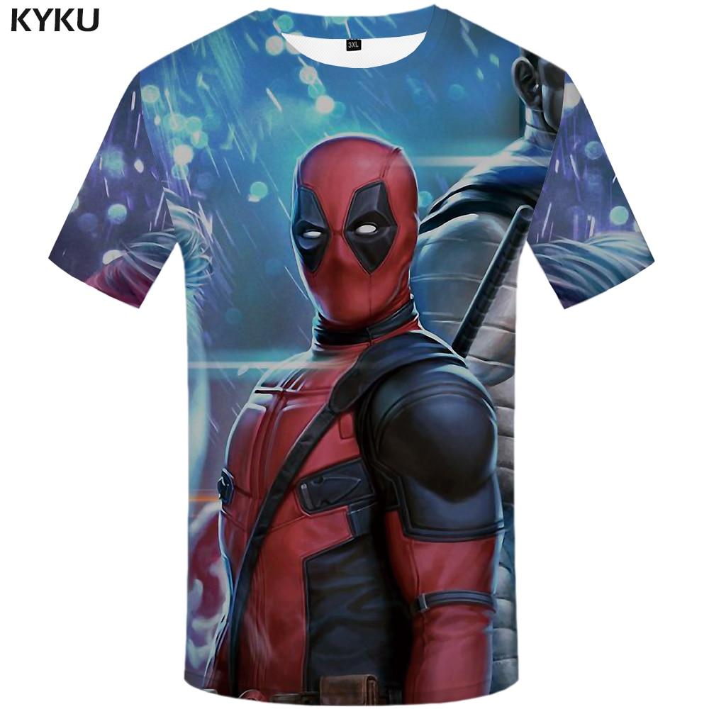 KYKU marca Deadpool camiseta hombres Badass divertidas camisetas guerra camiseta impresa la película Anime ropa musculosa camisetas Casual