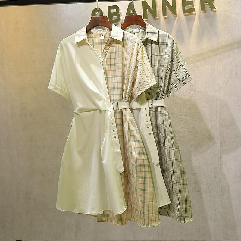 2020 roupas de verão para as mulheres grande plus size 5xl camisa vestido xadrez rosa retalhos moda elegnat vestido sexy mini vestido casual