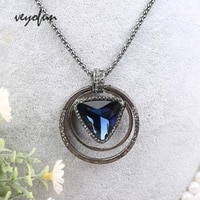veyofun fashion triangle crystal round necklaces for women pendant jewelry gift new