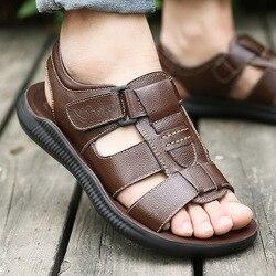 Sandálias masculinas verão novo masculino casual sapatos de praia chinelos de fundo grosso sapatos de couro maré sandálias dos homens verão sandália