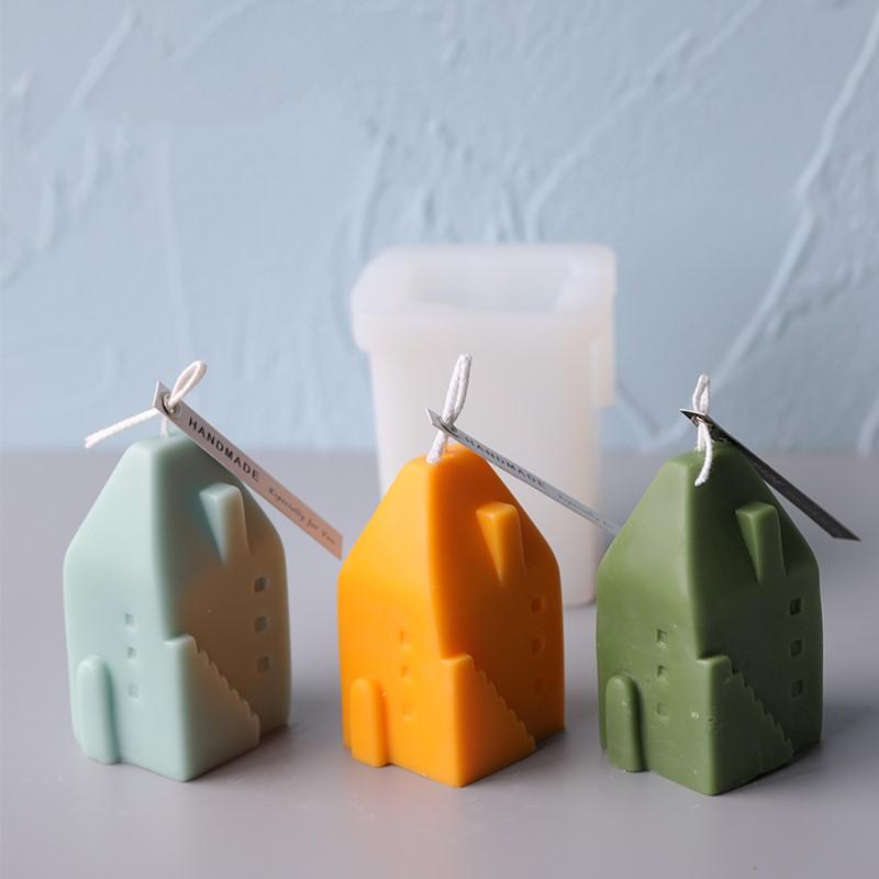 Casa forma vela molde nuevo hogar forma vela molde DIY vela silicona molde artesanías decoración del hogar