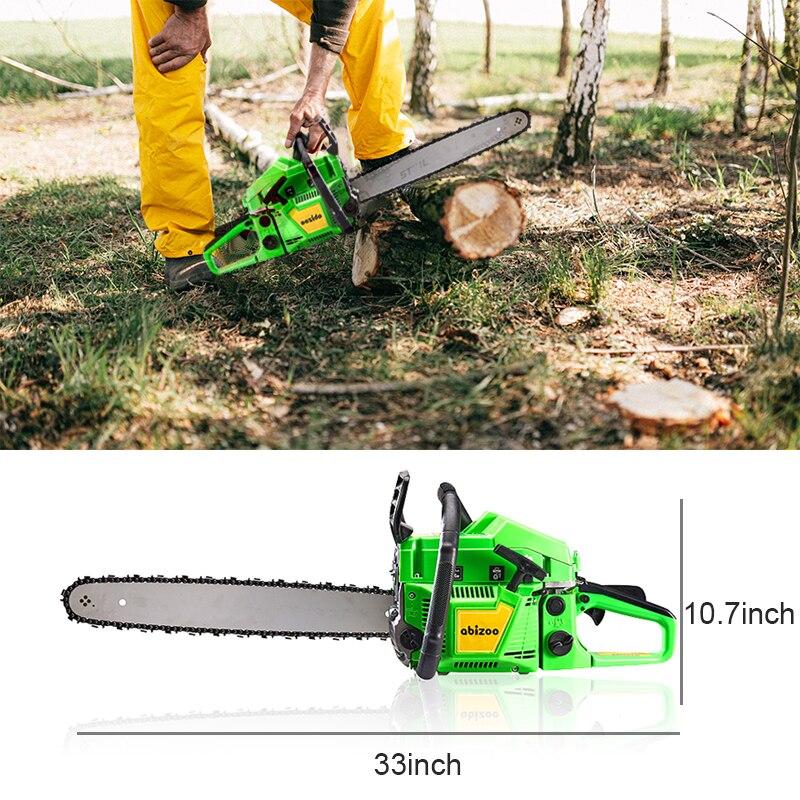 19000W Gasoline Chain Saw 52CC 2-Stroke Petrol Chain Saws Garden Logging Saw Cutting Tools Handheld Gasoline Saw for Trees