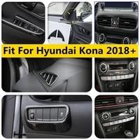 yimaautotrims carbon fiber look interior refit kit for hyundai kona 2018 2021 air window lift button head lamps cover trim