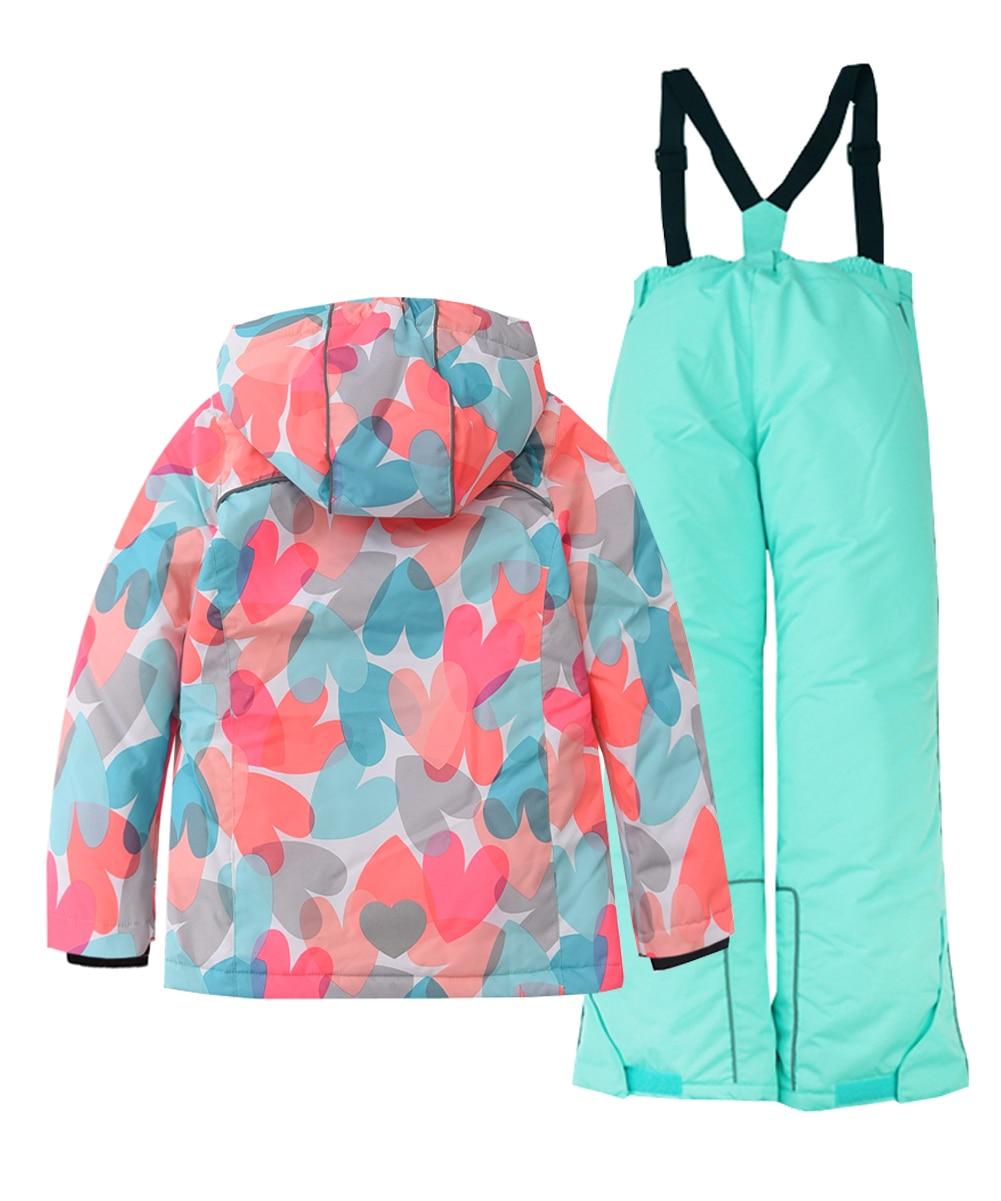 Hiheart Girls Warm Ski Suit Hooded Ski Jacket + Pants 2 Pcs Set -30 Degree Kids Ski Suit Clothes Waterproof Outdoor Ski Jacket enlarge